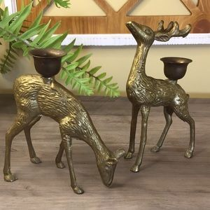 Pair Of Standing Deer Brass Candle Stick Holders